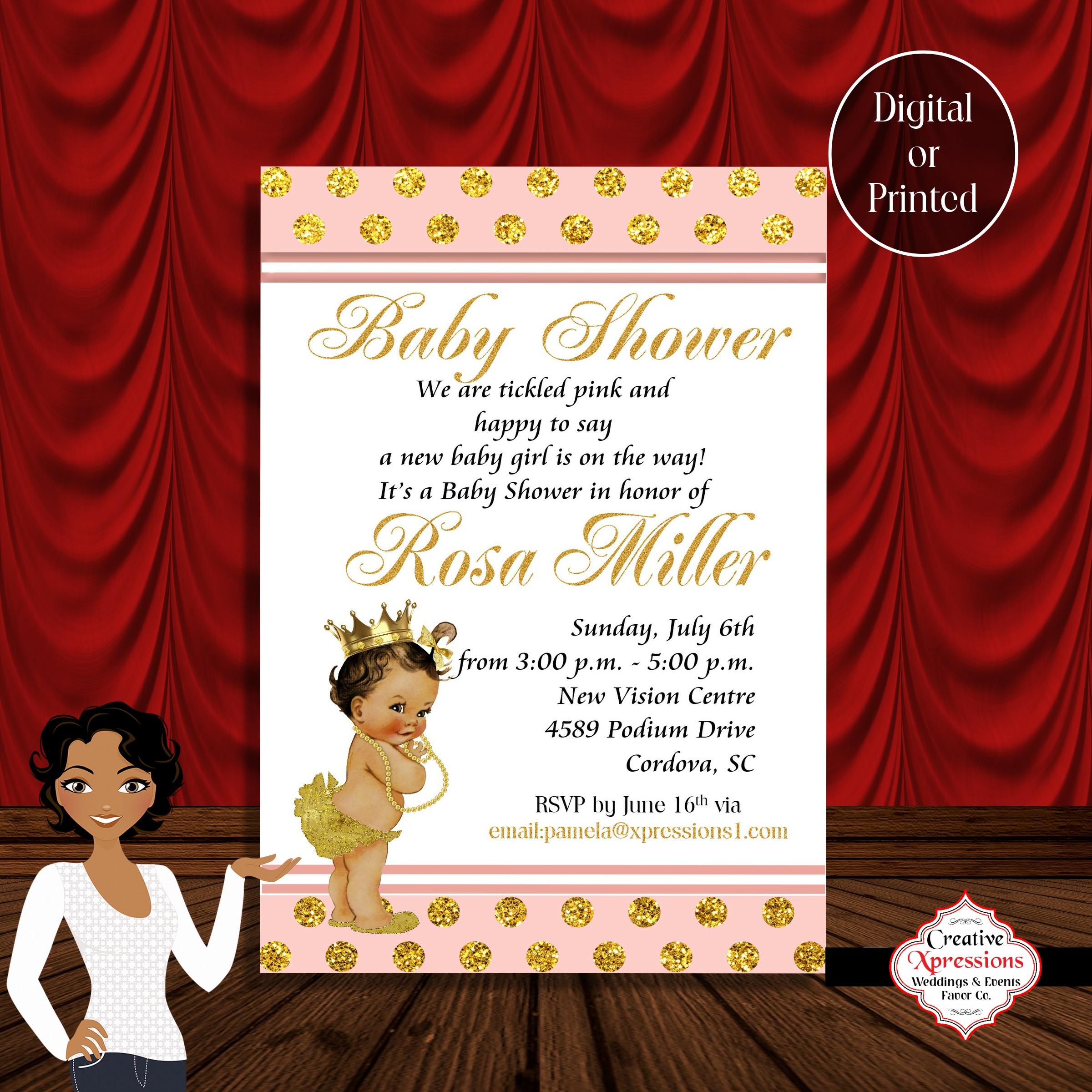 Peach Drop Baby Shower Invitations