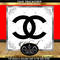 Black White and Silver Chanel Birthday Backdrop