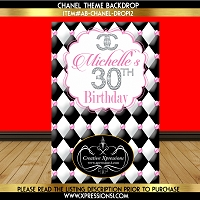 Opulent Black and Pink Birthday Backdrop