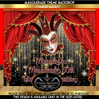 Red Curtain Masquerade Birthday Backdrop