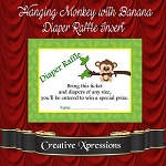 Hanging Monkey with Banana Diaper Raffle Insert