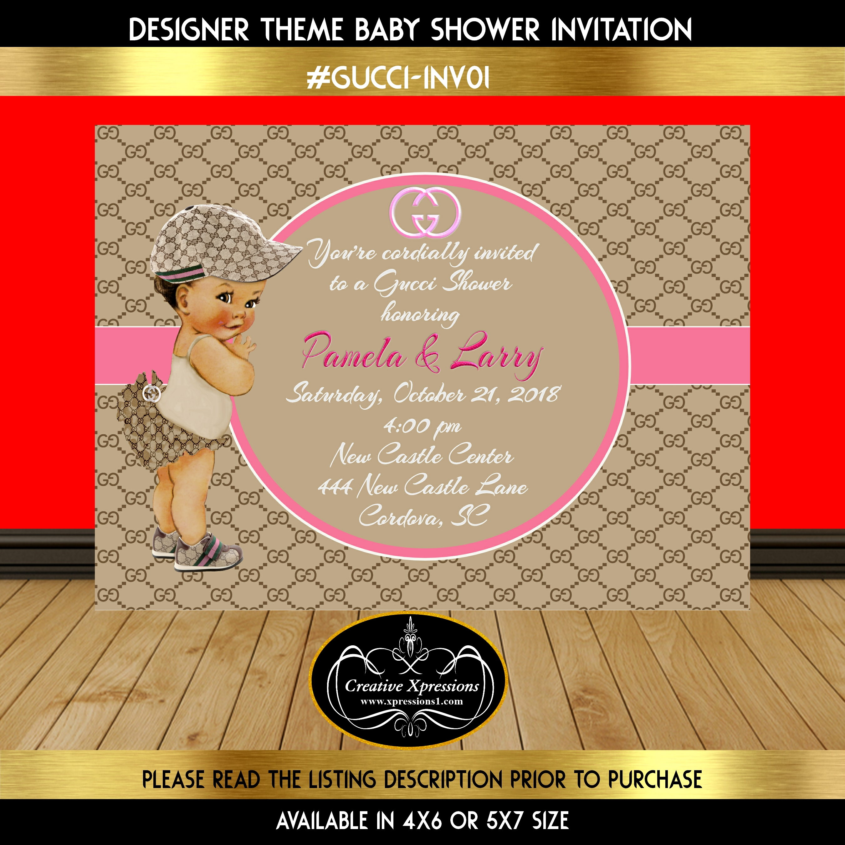 pink on gucci baby shower invitation