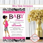 Diva Mom in Pink Invitation