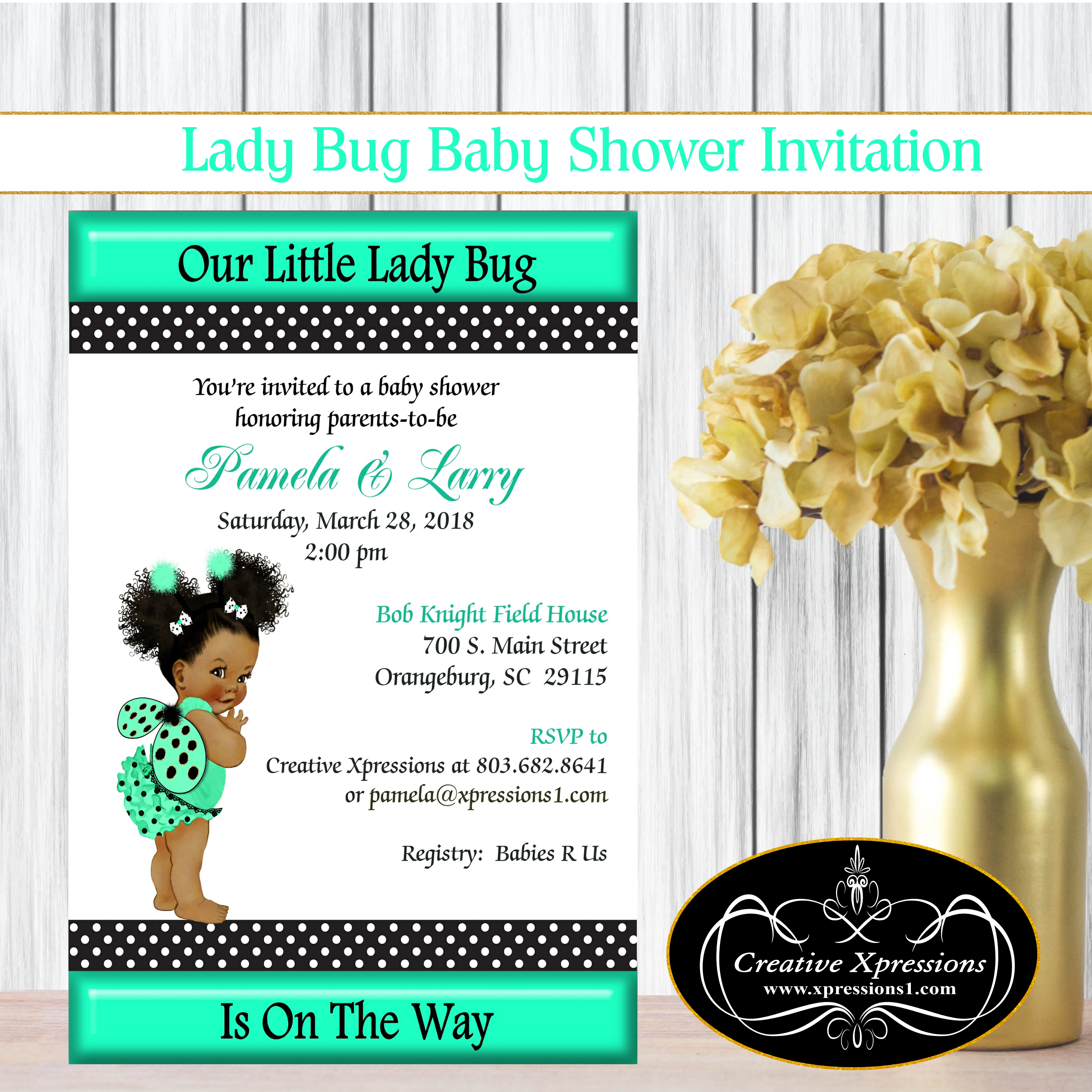Ladybug in Black and Green Baby Shower Invitation