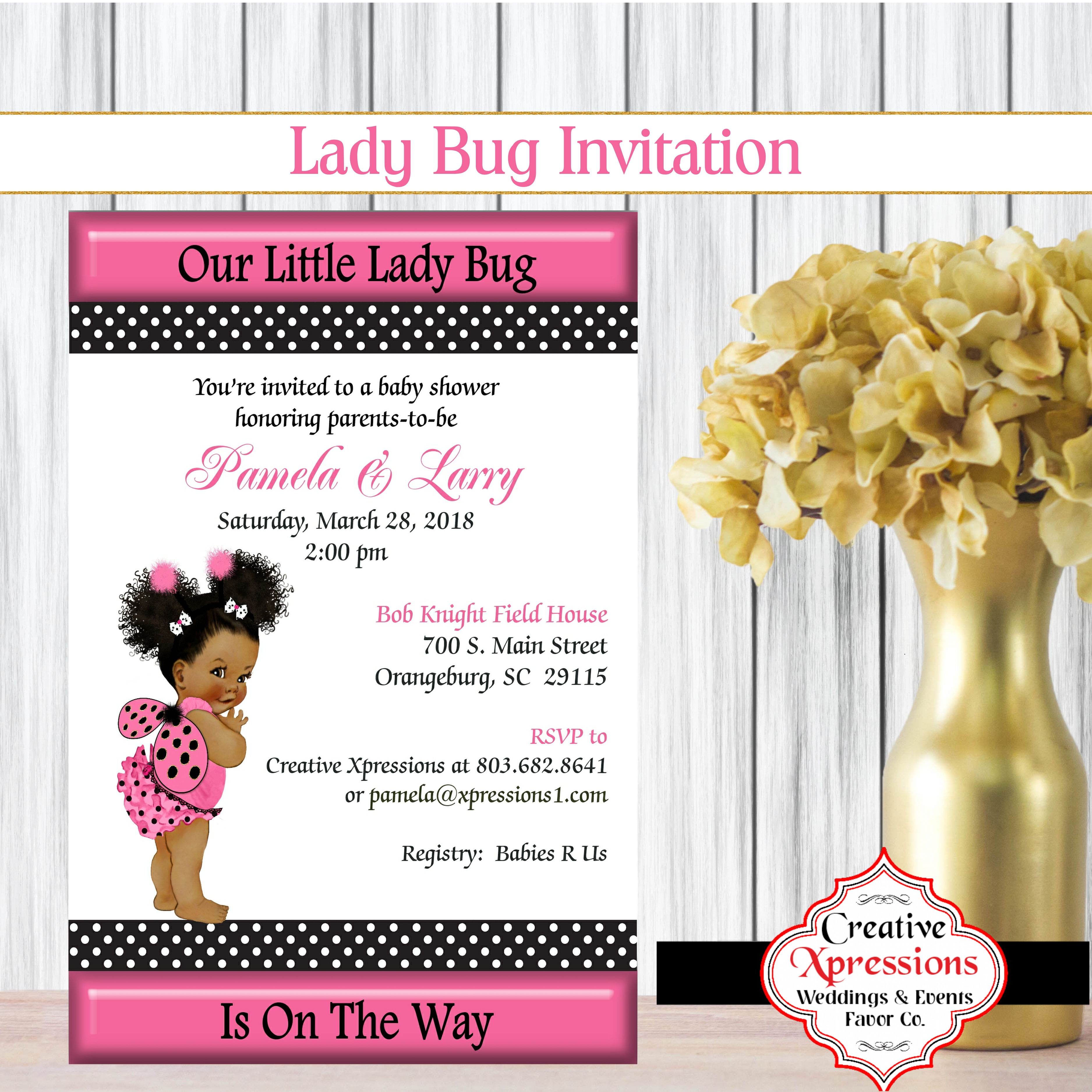 Ladybug In Pink And Black Baby Shower Invitation