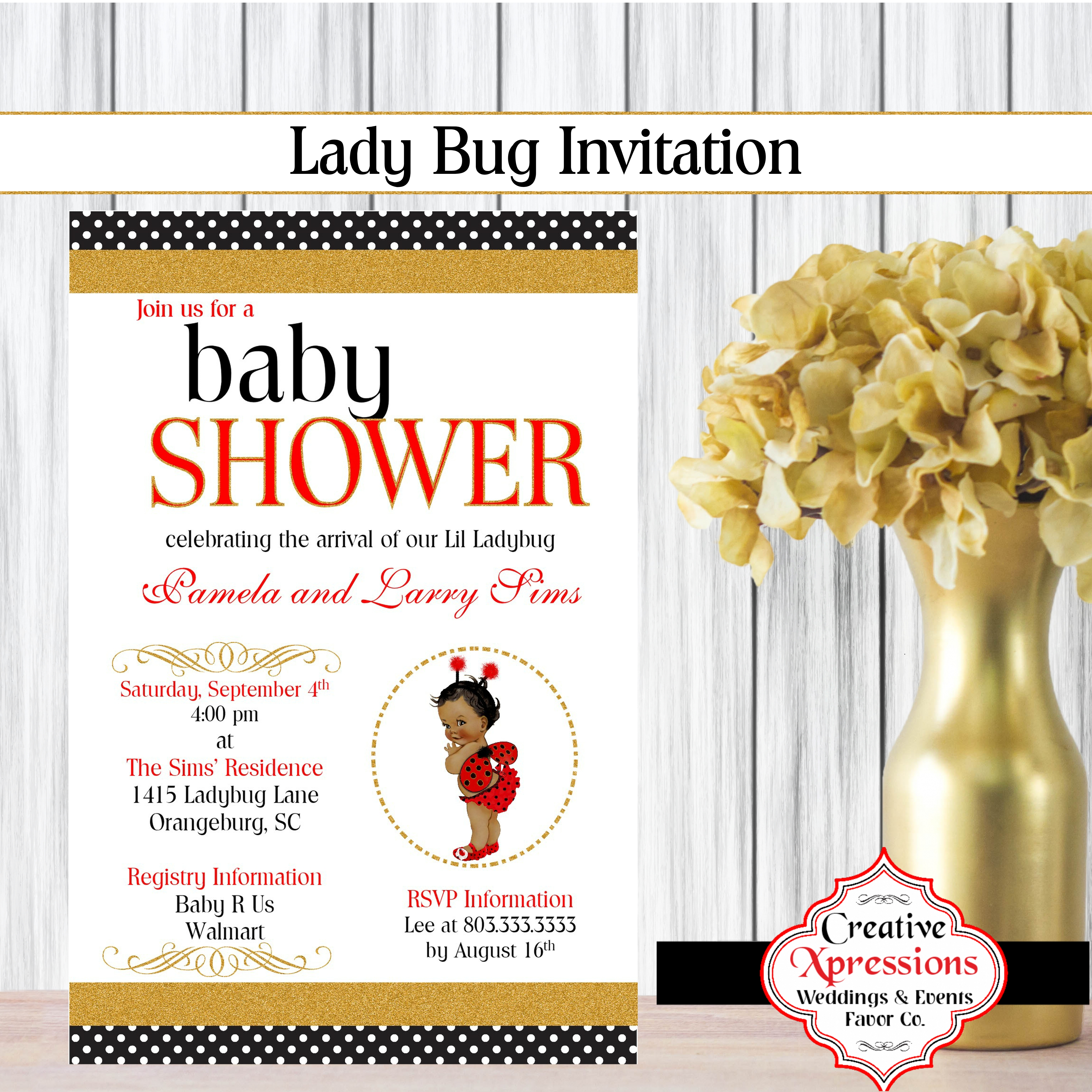 Gold, Red and Black Ladybug Shower Invitation