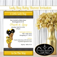 Ladybug in Black and Gold Shower Invitations