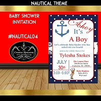 Anchor It's Away Baby Shower Invitation
