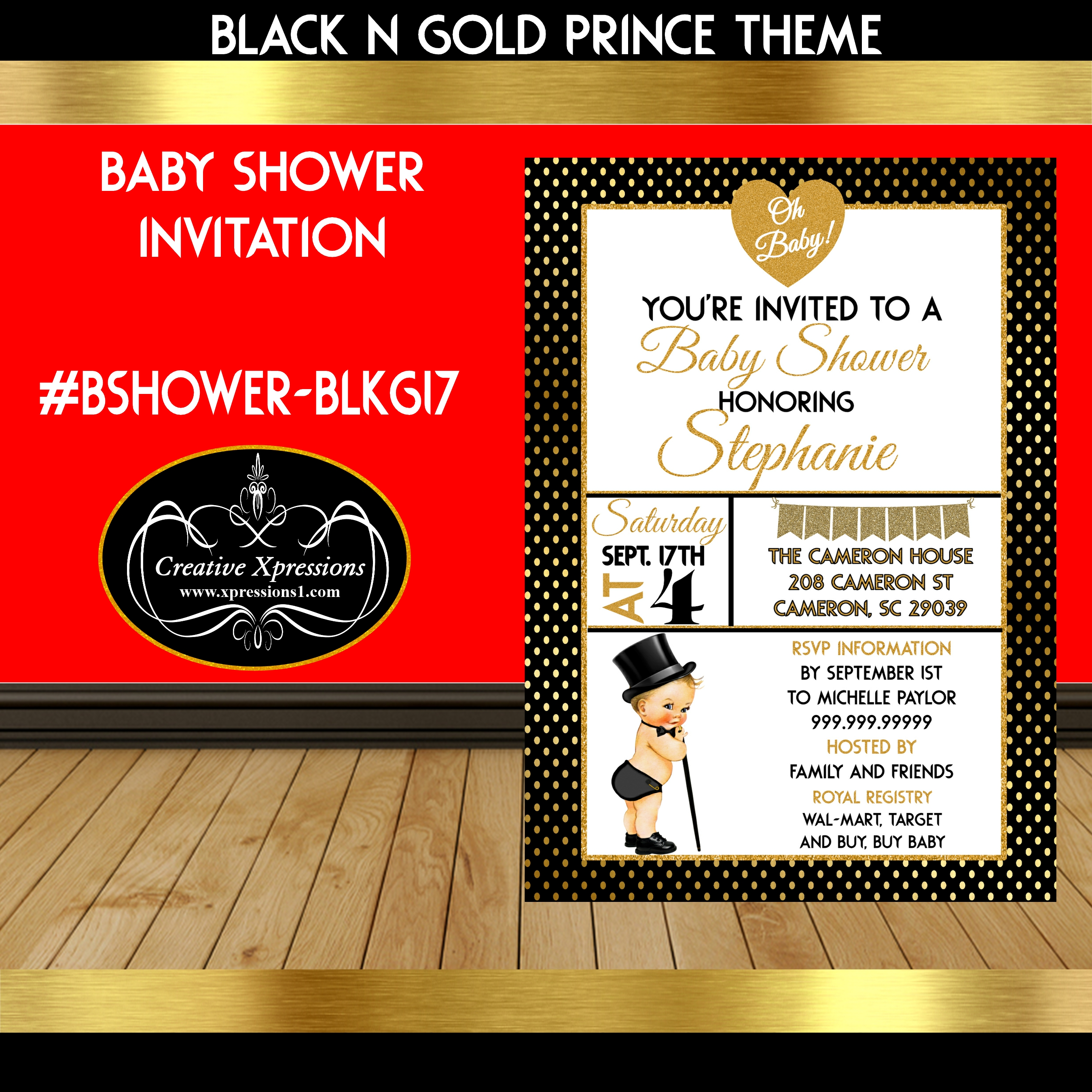 Oh Baby Black and Gold Invitation