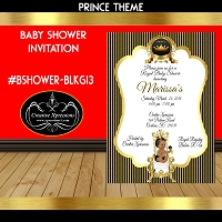 Golden Stripes on with Prince on White Invitation