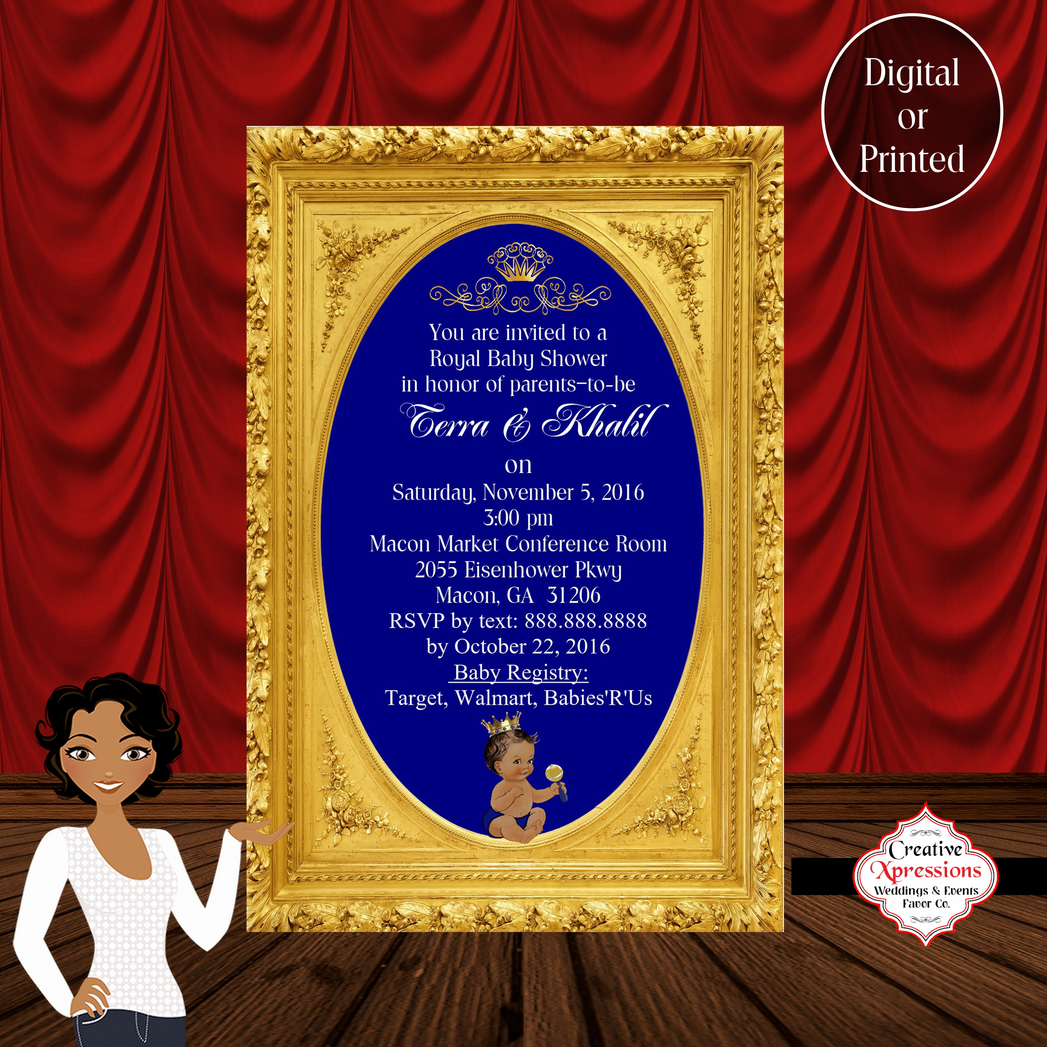 Royal Prince in Gold Frame Baby Shower Invitation