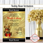 Teddy Bear on Black with Red Invitation