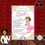 Royal Princess in Pink Carriage Arrival Baby Shower Invitation