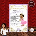 Royal Princess with Purple Carriage Baby Shower Invitation