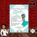 Royal Princess  in Teal Gown with White Carriage Baby Shower Invitation