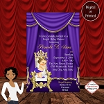 The Purple Royal Theatre Curtain with Princess on Throne Baby Shower Invitation