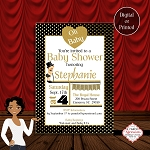 Oh Baby Black and Gold Shower Invitation