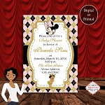Minnie Mouse Glitter Perfect Argyle Baby Shower Invitation