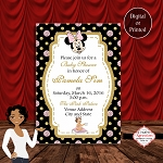 Gold and Pink Glitter Circles Minnie Mouse Baby Shower Invitation
