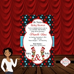 Seuss Girl 1 and 2 Baby Shower Invitation