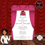 Royal Pink Princess with Afro Puffs Baby Shower Invitation