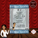 Royal Prince with Silver Crown Baby Shower Invitation