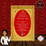 Royal Princess on a Red Royal Pillow in Gold Frame Baby Shower Invitation