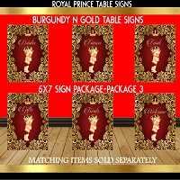 Burgundy & Gold Table Sign - Pack 3