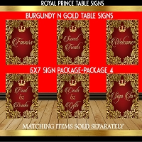 Burgundy & Gold Table Sign - Pack 4