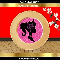 Barbie Silhouette on Pink Pattern Charger Insert