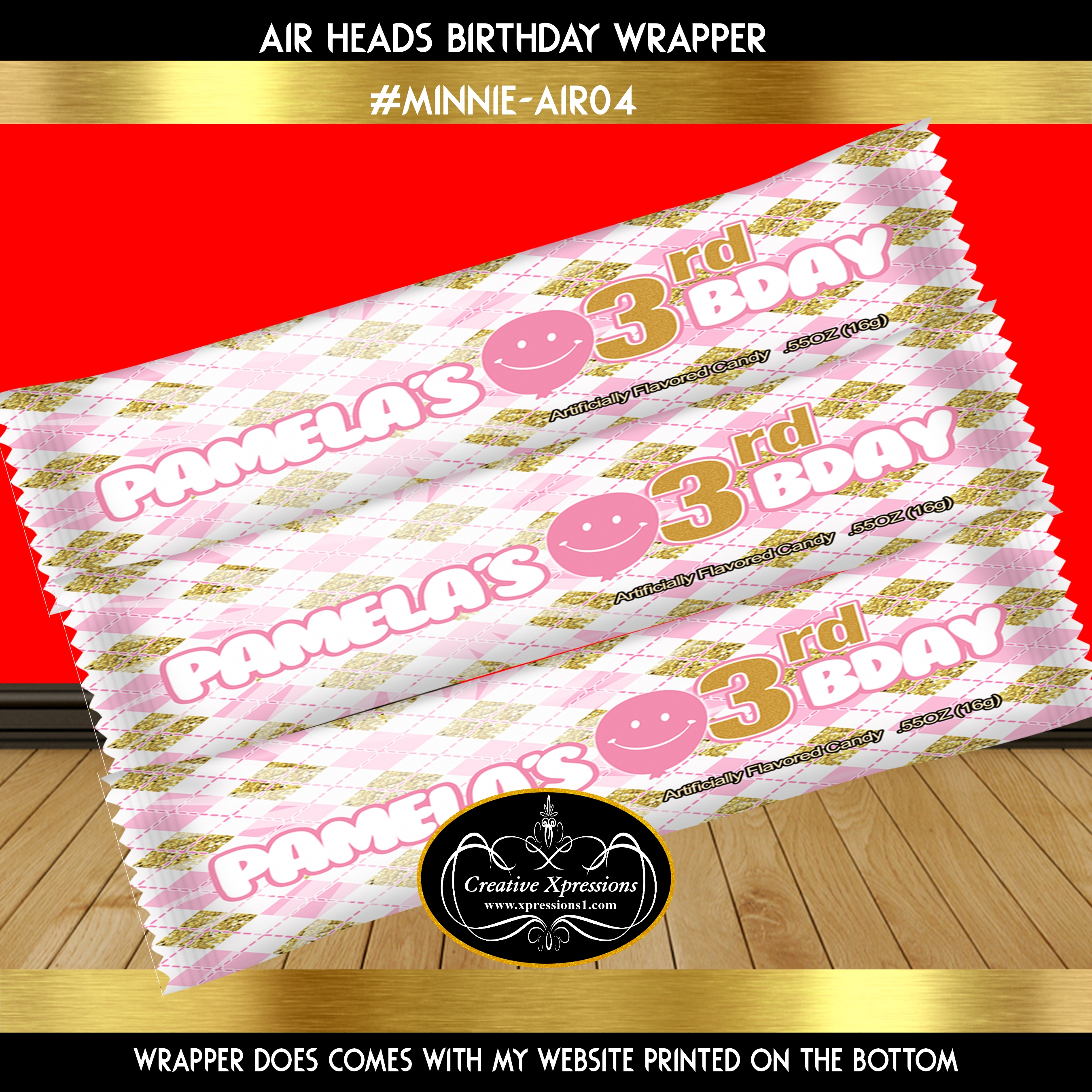 Minnie Pink And Gold Argyle Wrapper