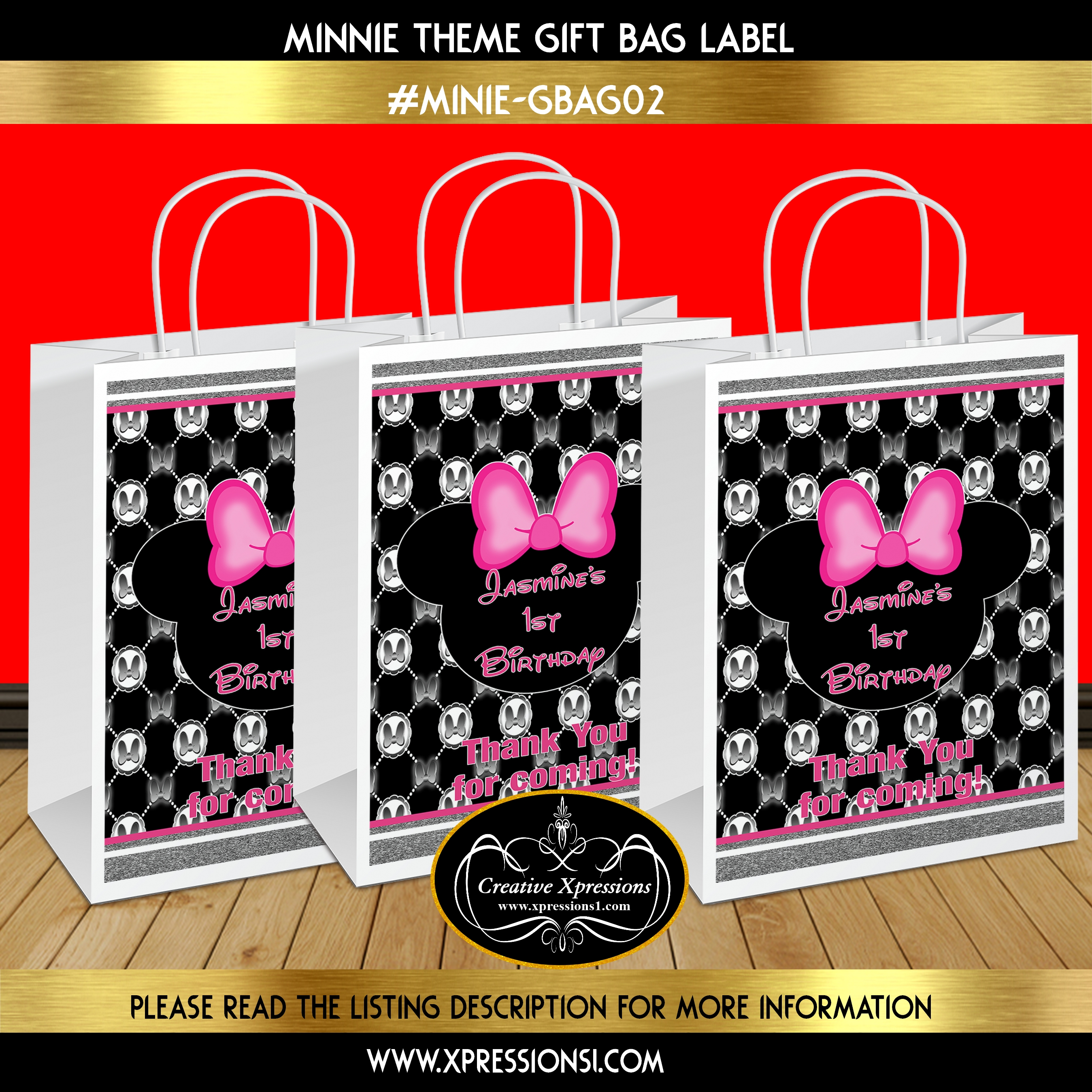 Black And Hot Pink Minnie Gift Bag Label