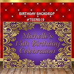 Purple and Gold Birthday Backdrop