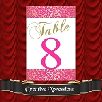 The Pink and Gold Glitter Swirl Table Numbers Package