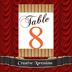 The Orange Metallic Finish Table Number Package