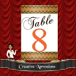 Metallic Chevron Table Number Package