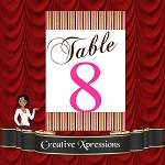 Metallic Pink and Chocolate Table Number Package