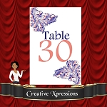 Coral and Blue Table Number Package