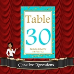 Turquoise Scattered Gold Table Number Package