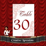 Coral and Wine Table Number Packages