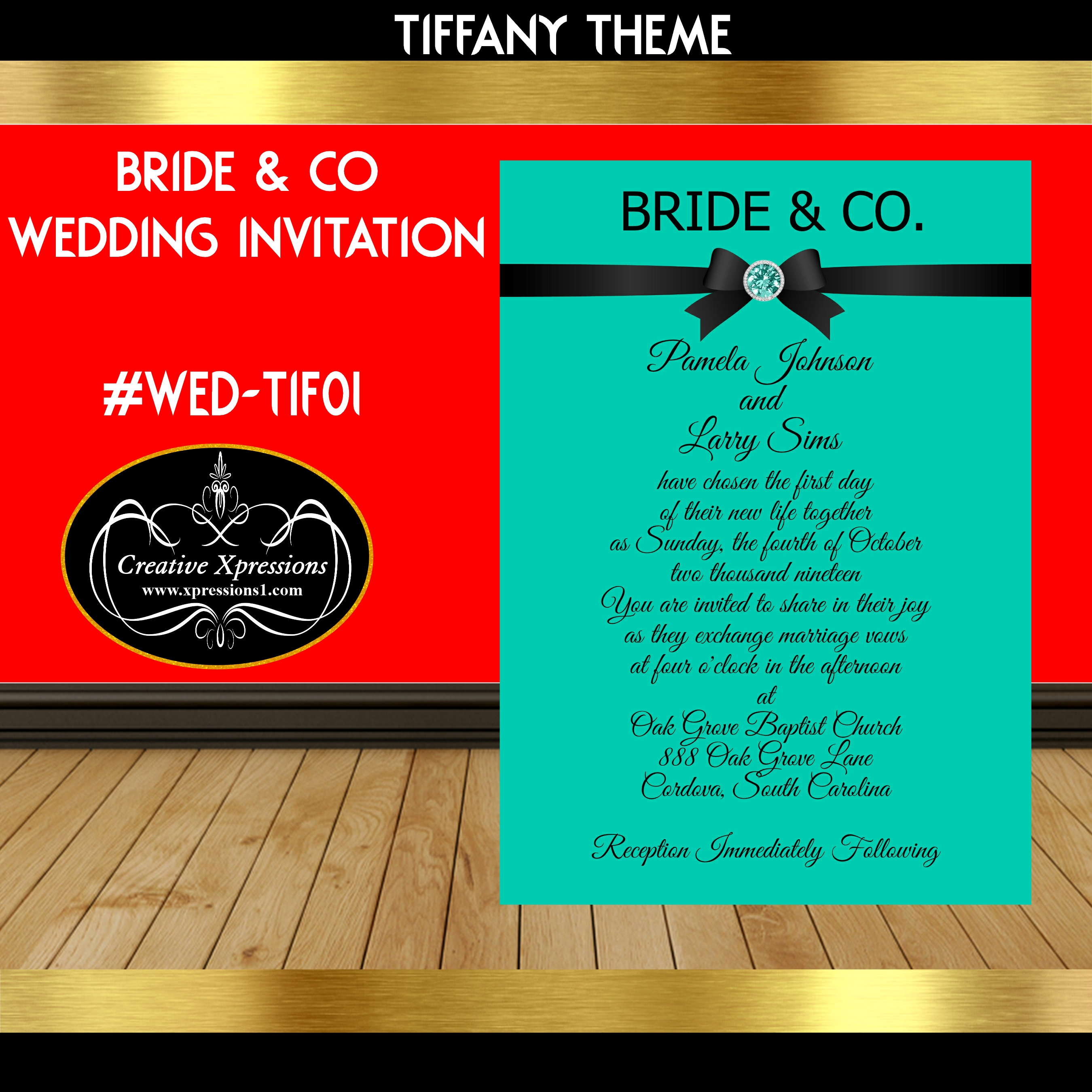 Tiffany with Black Satin Ribbon Wedding Invitation