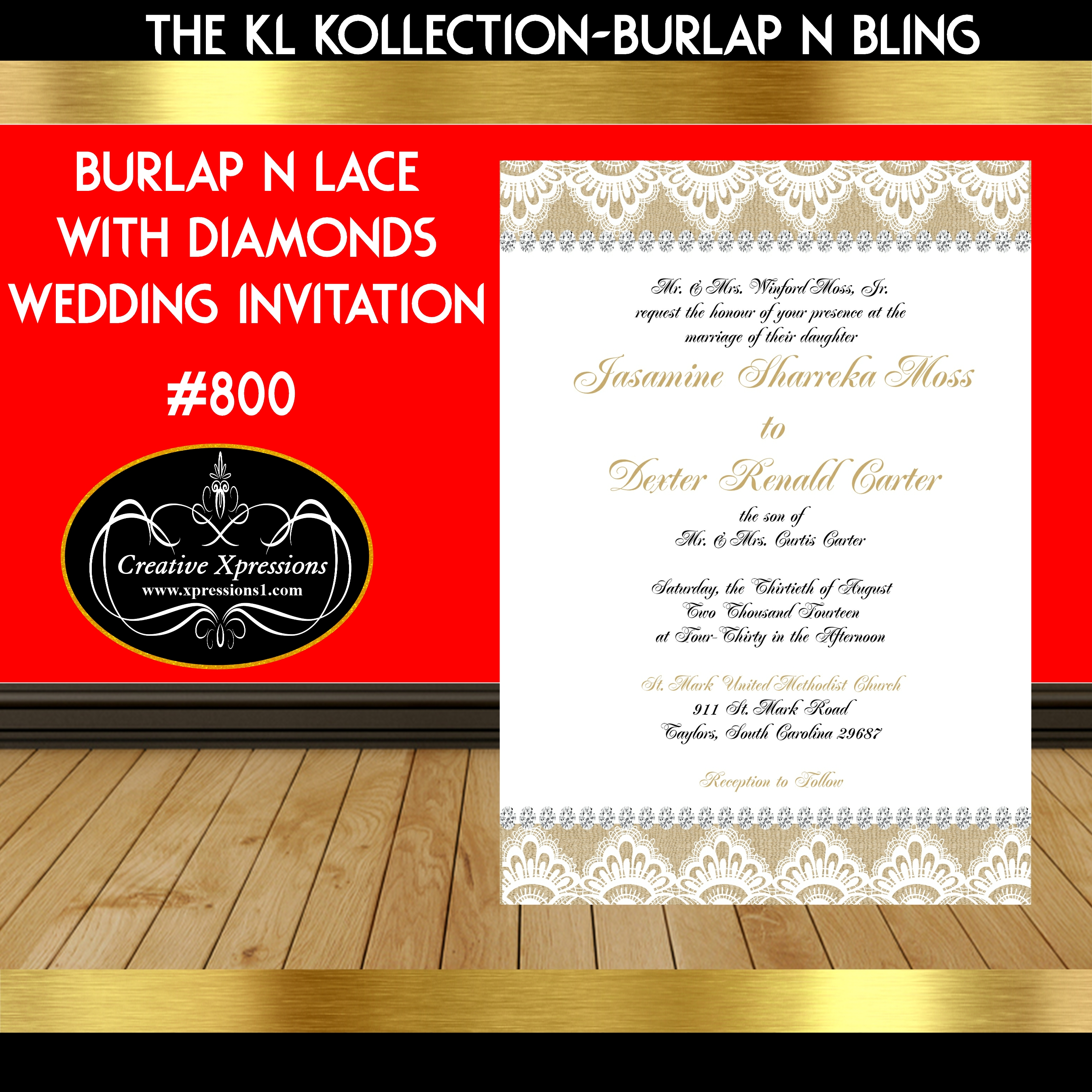 Burlap and Lace with Diamonds Wedding Invitation
