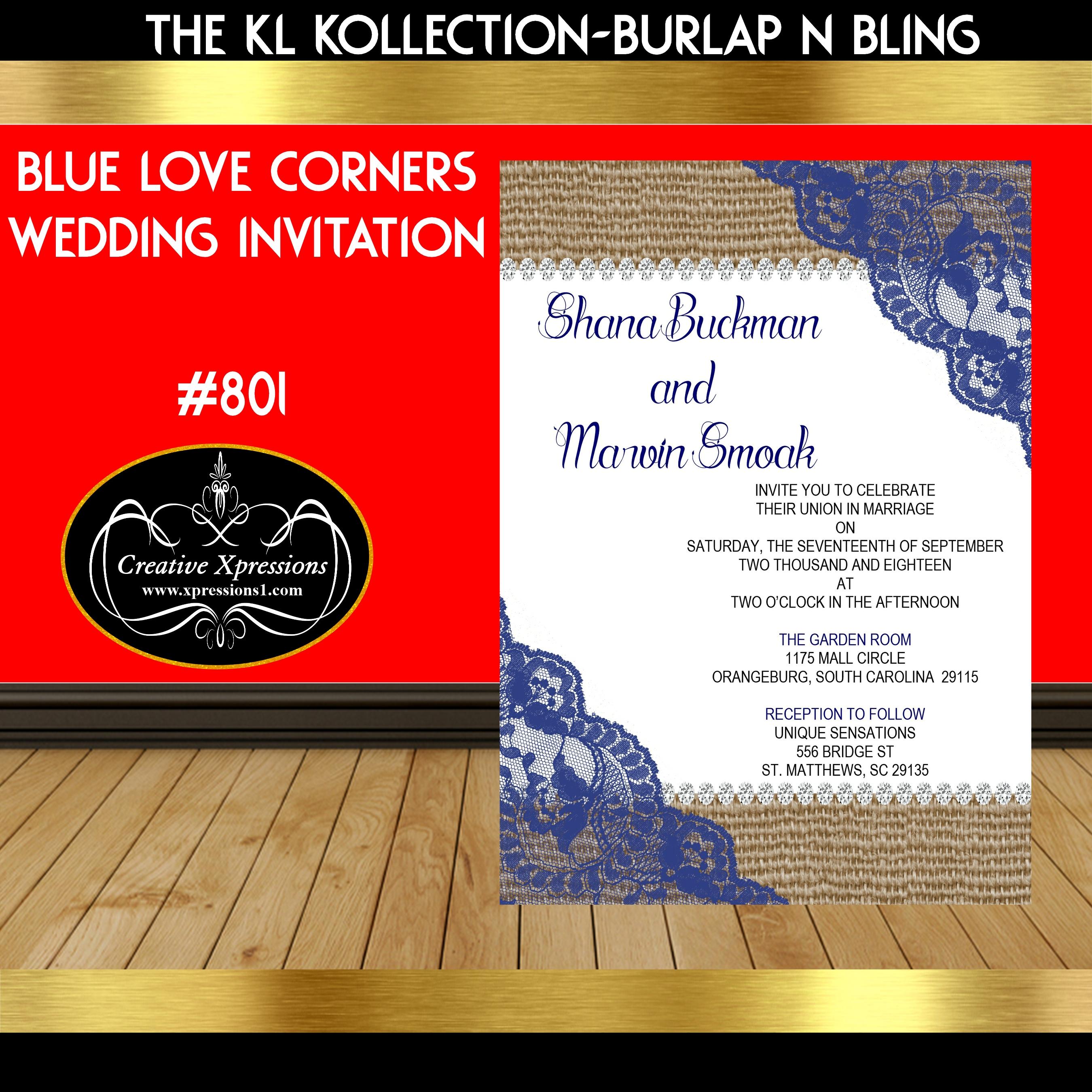 Blue Love Corners Wedding Invitation
