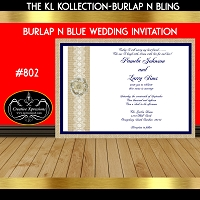 Burlap and Blue with Ivory Rose