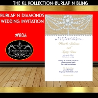 Burlap and Diamonds Wedding Invitations