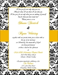 Damask with Gold Wedding Invitation