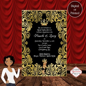 Black and Gold Royal Baby Shower Invitation