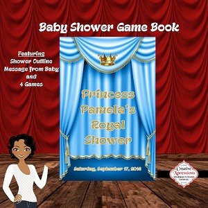 Baby Blue and Gold Royal Shower Game Book