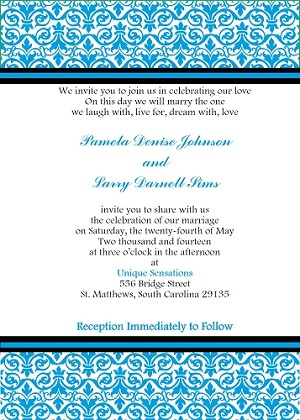 Bold Blue Damask Invitation