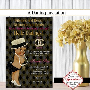 Black and Gold Crosshatch Invitation